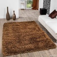 """Allstar Brown Solid Hand Knotted Modern Shaggy Rug - 7' X 10' 2"""""""