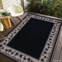 """Allstar Black/ Ivory Indoor Outdoor With Palm Trees Rug - 7' 10"""" X 10' 2"""""""