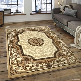 """Allstar Ivory/ Berber Woven Traditional Aubusson Printed Rug (7' 10"""" X 10' 2"""")"""