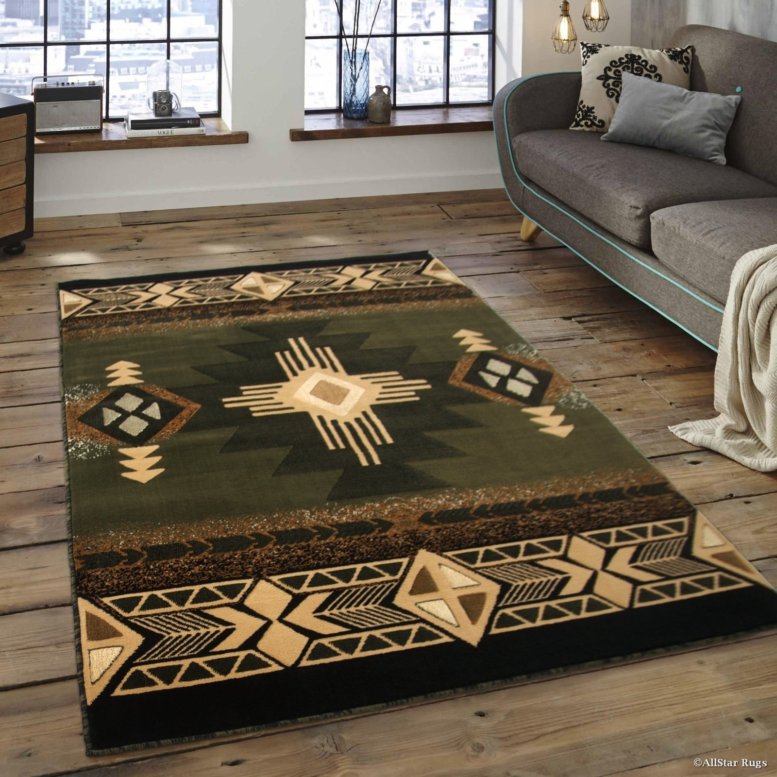 Allstar Sage Green/Ivory Woven Native American Rug (7'10 ...