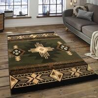 "Allstar Sage Green/ Ivory Woven Native American Rug (7' 10"" X 10' 2"")"