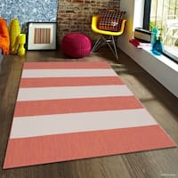 """Allstar Terracotta/ Ivory Indoor Outdoor With Pattern Rug - 7' 10"""" X 10' 2"""""""