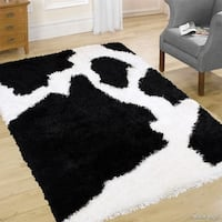 """Allstar Black/ White Chic Thick Soft And Shaggy Solid Rug (7' 7"""" X 10' 4"""")"""
