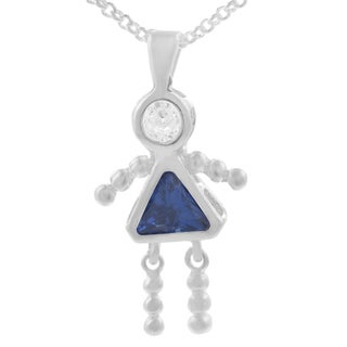 Sterling Silver Colored Cubic Zirconia  Girls Charm Pendant