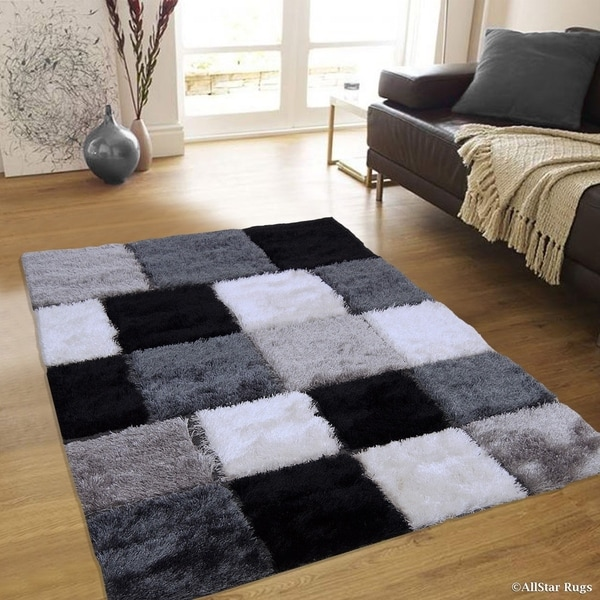 Black And White Geometric Rugs For Sale: Shop Allstar Black/ White Geometric Cube Thick High Pile