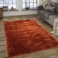 """Allstar Rust Chic Thick Soft And Shaggy Solid Rug (7' 7"""" X 10' 4"""")"""