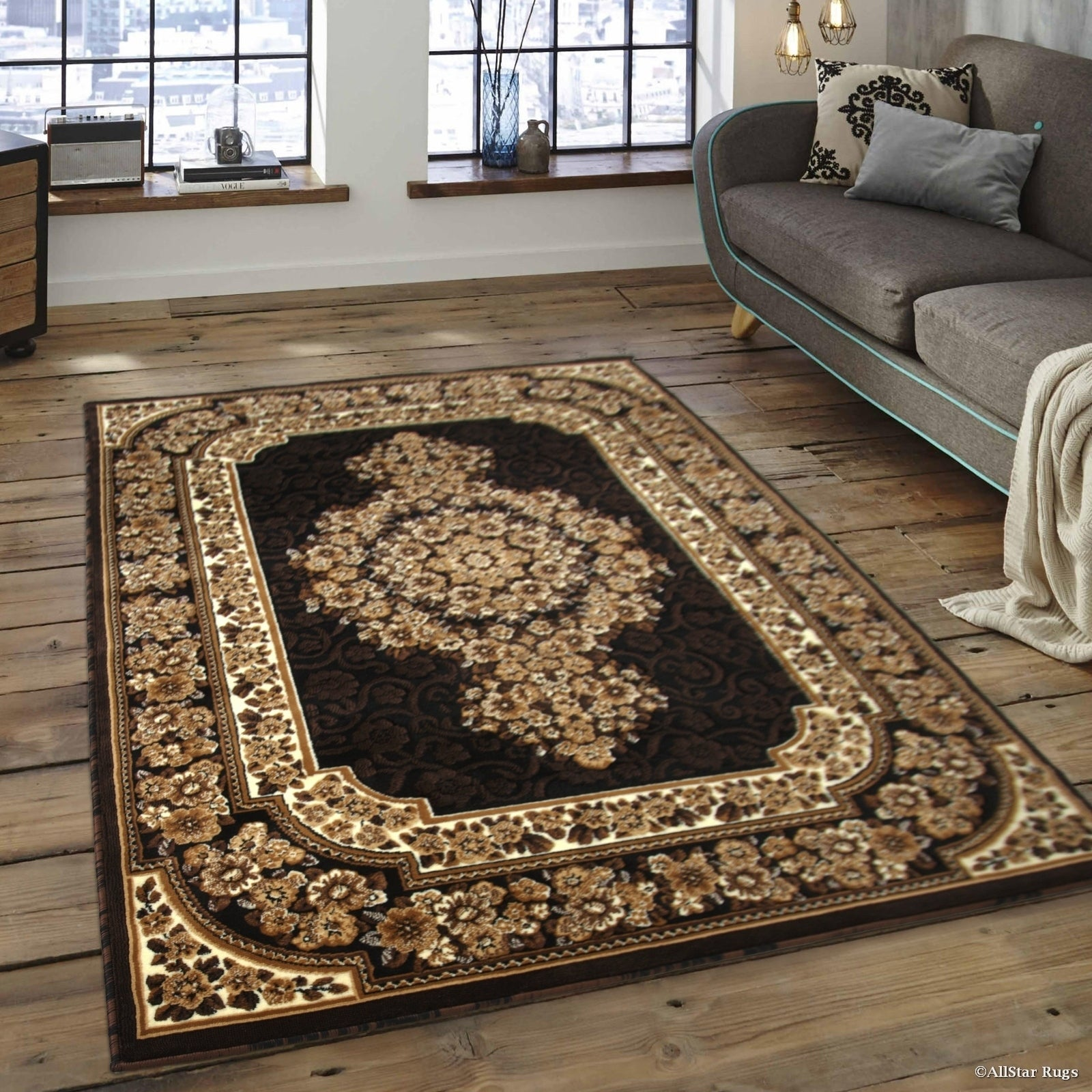 "Allstar Black/ Brown Woven Floral Printed Rug (7' 10"" X 1..."