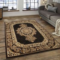 Allstar Black/ Brown Woven Floral Printed Rug