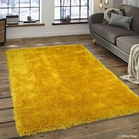 """Allstar Yellow Chic Thick Soft And Shaggy Solid Rug (7' 7"""" X 10' 4"""")"""