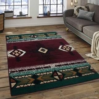 "Allstar Burgundy/ Green Woven Native American Rug (7' 10"" X 10' 2"")"