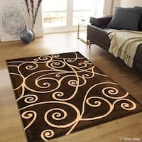 "Allstar Chocolate Modern Distressed Traditional Design Rug - 7' 10"" X 10' 2"""
