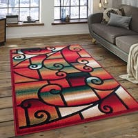 "Allstar Red Modern And Chic Traditional Aubusson Rug (7' 10"" X 10' 2"")"