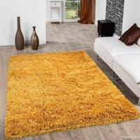 Allstar Mustard Solid Hand Knotted Modern Shaggy Rug - 7' X 10' 2""
