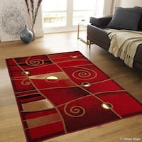 "Allstar Red Combo Modern And Chic Swirl Design Rug - 7' 10"" X 10' 2"""