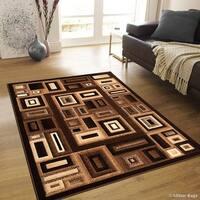 "Allstar Chocolate Modern Colorblock Geometric Design Rug - 7' 10"" X 10' 2"""