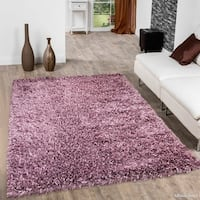 """Allstar Lilac Solid Hand Knotted Modern Shaggy Rug (7' X 10' 2"""")"""