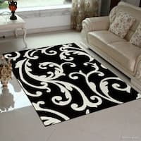 Allstar Black Floral Traditional Colorblock Design Rug