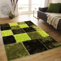 "Allstar Green Geometric Cube Design Thick High Pile Rug (7' 11"" X 10' 5"")"