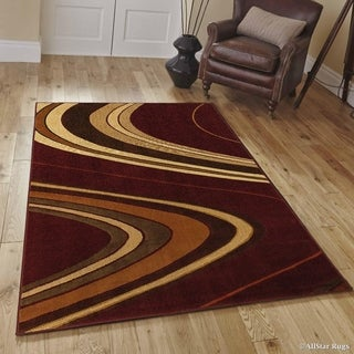 "Allstar Maroon/ Ivory Modern And Chic Wave Design Rug (7' 10"" X 10' 2"")"
