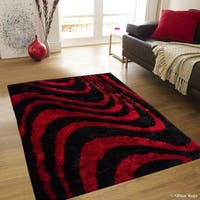 Allstar Red/ Black Modern Stripe Design Thick High Pile Rug