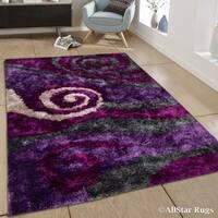 "Allstar Lilac/ Grey Modern Swirl Design Thick High Pile Rug (7' 11"" X 10' 5"")"