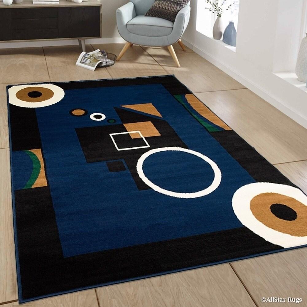 Allstar Navy Blue/ Squares/ Circles Geometric Shapes Rug ...