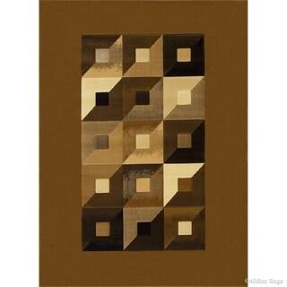 "Allstar Gold Brown Modern Geometric Design Rug (7' 10"" X 10' 2"")"