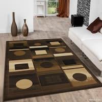 "Allstar Chocolate/ Beige Modern Geometric Design Rug (7' 10"" X 10' 2"")"