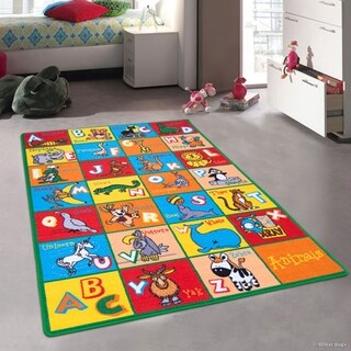 """Allstar Kids Learn Abc Alphabet Letters With Animals Rug (7' 3"""" X 10' 2"""")"""