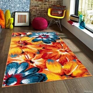 "Allstar Woven Modern Abstract Floral Design Rug (7' 10"" X 10')"