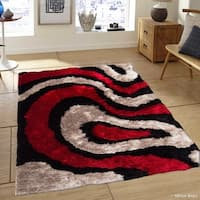 Allstar Red/ Black Modern Thick High Density High Pile Rug