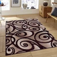 Allstar Burgundy Woven Modern Evolution Swirl Design Rug