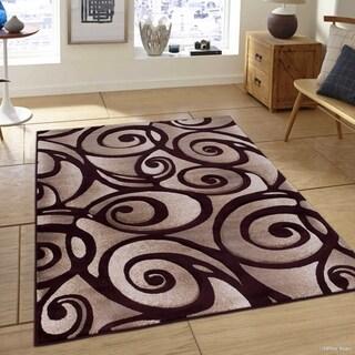 """Allstar Burgundy Woven Modern Evolution Swirl Design Rug (7' 9"""" X 10' 5"""")"""