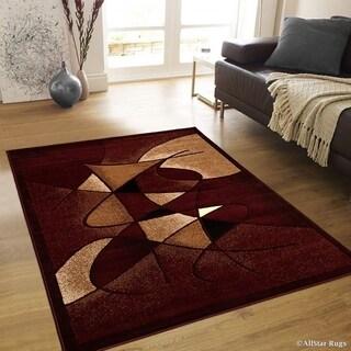 "Allstar Burgundy Distressed Modern Swirl Design Rug (7' 10"" X 10' 2"")"