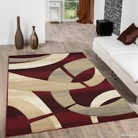 "Allstar Red Modern Carved Circle Shape Rug - 7' 9"" X 10' 5"""