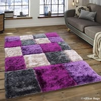 Allstar Lilac/ Grey Geometric Cube Thick High Pile Rug
