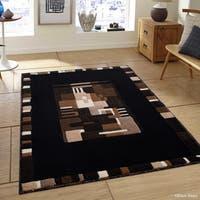 "Allstar Black Modern Colorblock Shape Design Rug (7' 10"" X 10' 2"")"