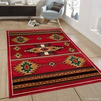 Allstar Red Woven Traditional Southwestern Geometric Rug