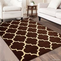 "Allstar Chocolate Wool-Touch Look Woven Frieze Colorful Rug (7' 7"" X 10' 5"")"