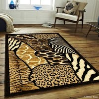 "Allstar Black High Density Exotic Animal Skin Design Rug - 7' 10"" X 10' 2"""