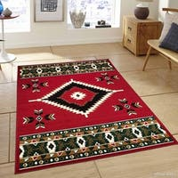 "Allstar Red Woven Traditional Southwestern Geometric Rug (7' 7"" X 10' 6"")"