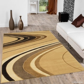 "Allstar Berber/ Brown Modern And Chic Wave Design Rug (7' 10"" X 10' 2"")"