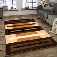 "Allstar Chocolate/ Beige Modern Colorblock Design Rug - 7' 10"" X 10' 2"""