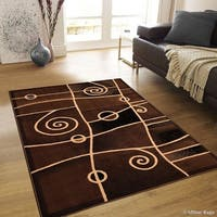 "Allstar Chocolate Combo Modern And Chic Swirl Design Rug (7' 10"" X 10' 2"")"