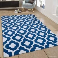 "Allstar Blue Modern Transitional Moroccan Design Rug (7' X 10' 2"")"
