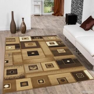 "Allstar Gold Brown Modern Square Design Rug (7' 10"" X 10' 2"")"
