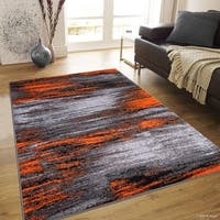 "Allstar Orange Exclusive Modern Brush Streak Design Rug (7' 10"" X 10')"