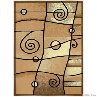 Allstar Combo Modern And Chic Swirl Design Rug (Beige 102 x 79)
