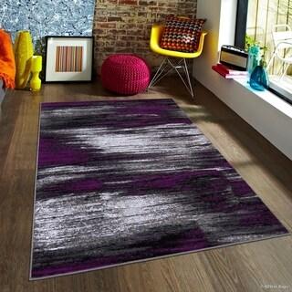 "Allstar Purple Exclusive Modern Brush Streak Design Rug (7' 10"" X 10')"