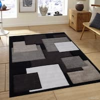 Allstar Black Woven Abstract Block And Square Design Rug